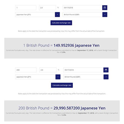 ビザカード英ポンド→円換算レート計算式